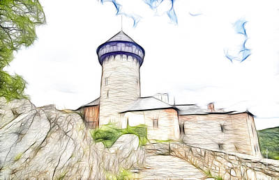 Tourist Attraction Digital Art - castle of the holy order - Sovinec castle by Michal Boubin
