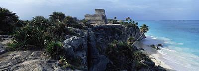 Ancient Civilization Photograph - Castle On A Cliff, El Castillo, Tulum by Panoramic Images