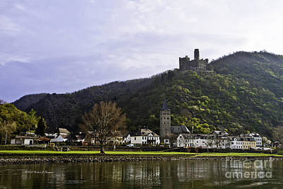 Castle On Hill Above Town Art Print