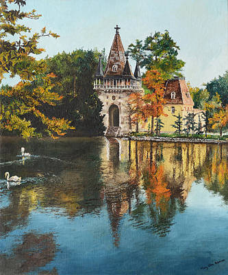 Swan Lake Painting - Castle On The Water by Mary Ellen Anderson