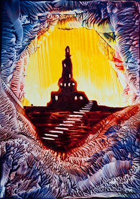 Encaustic Painting - Castle Rock Silhouette Painting In Wax by Simon Bratt Photography LRPS
