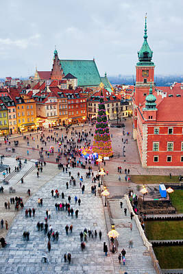 Christmas Holiday Scenery Photograph - Castle Square In The Old Town Of Warsaw by Artur Bogacki