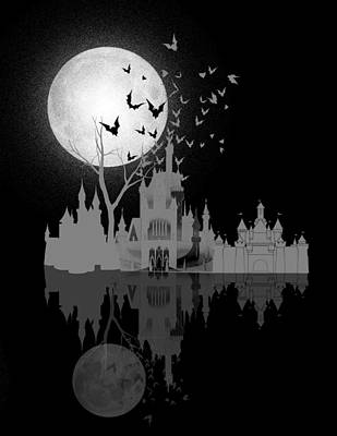 Bed Digital Art - Castle Under Moon by Neelanjana  Bandyopadhyay