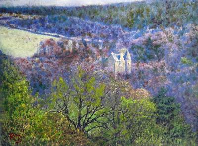 Painting - Castle Venlaw In Peebles by Richard James Digance