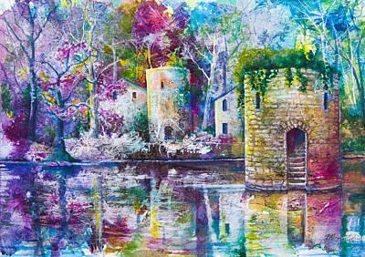 Mystical Landscape Painting - Castle Watergate by Patricia Allingham Carlson