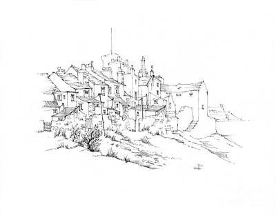 Drawing - Castletown Coastal Houses by Paul Davenport