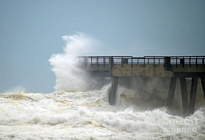 Photograph - 0828 Cat 1 Hurricane Isaac Crashes Into Navarre Beach Pier by Jeff at JSJ Photography