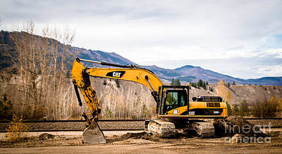 Artist Working Photograph - Cat 330 Excavator by Alanna DPhoto