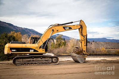 Artist Working Photograph - Cat 336d Excavator by Alanna DPhoto