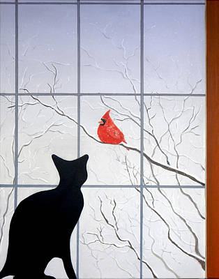 Cat And Cardinal Art Print by Karyn Robinson