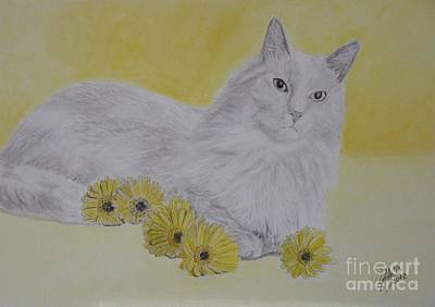 Cat Painting - Cat And Daisies by Cybele Chaves