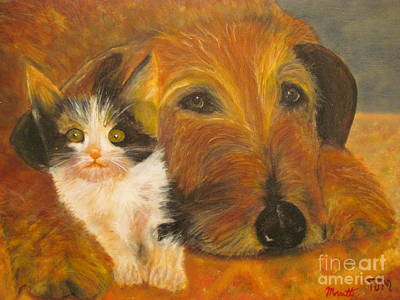 Cat And Dog Original Oil Painting  Art Print by Anthony Morretta