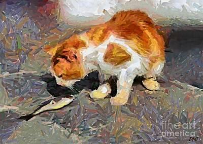 Cat  And Fish Art Print