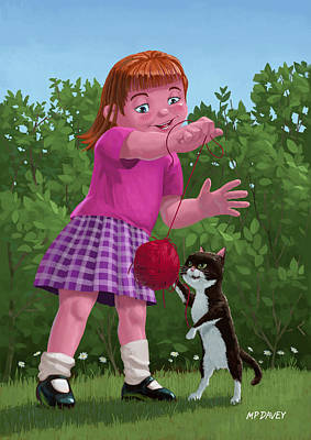 Playful Digital Art - Cat And Girl Playing by Martin Davey
