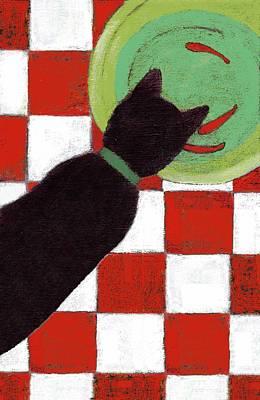 Painting - Cat And Goldfish by Kazumi Whitemoon