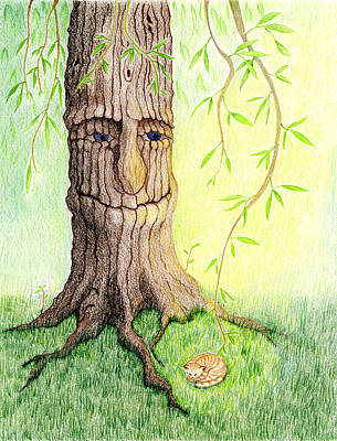 Art Print featuring the drawing Cat And Great Mother Tree by Keiko Katsuta