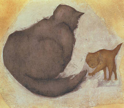 Paws Painting - Cat And Kitten by Sir Edward Coley Burne-Jones