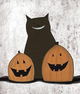 Pumpkins Painting - Cat And Pumpkins by Sarah Ogren