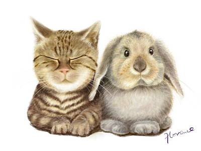 Cat And Rabbit Original by Florence Lee