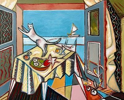Fruit Bowl Window Painting - Cat And Sailboat by Marcio Melo