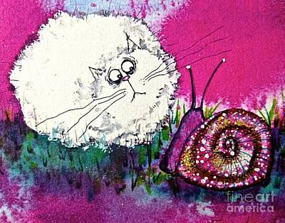 Wall Art - Painting - Cat And Snail by Jakki Moore