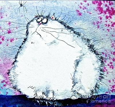 Wall Art - Painting - Cat And Spider by Jakki Moore