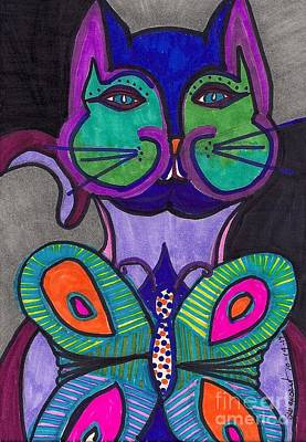 Colorful Abstract Drawing - Cat And The Butterfly by Suzi Gessert