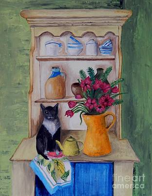 Tableware Painting - Cat And The Yellow Teapot by Caroline Street