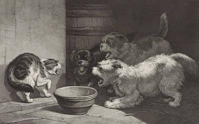 Cat And Three Barking Dogs And A Dish, Edouard Taurel Art Print by Artokoloro