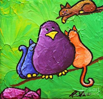 Cat Bird Original by LimbBirds Whimsical Birds