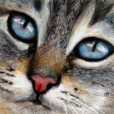 Cats Painting - Cat Blue Eyes  by Angie Braun