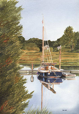 Cape Cod Painting - Cat Boat Reflections by Heidi Gallo