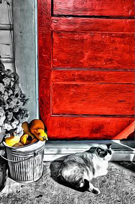 Cat By The Red Door Art Print