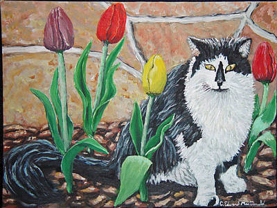 Cat By The Tulips  Art Print