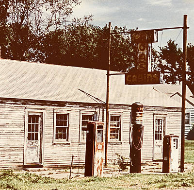Sign Photograph - Cat Cabins And Gas Station by Marilyn Hunt