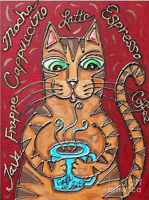 Mixed Media - Cat Cafe Au Lait by Cynthia Snyder