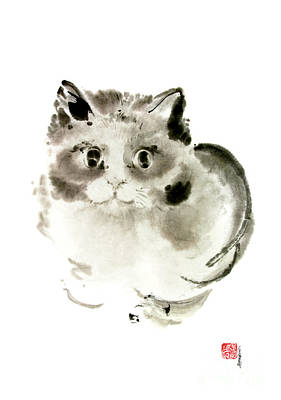 Cat Cats Kitten Funny Meow Animal Pet Ink Painting Original by Mariusz Szmerdt