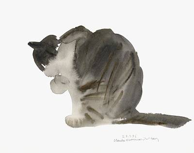 Paws Painting - Cat by Claudia Hutchins-Puechavy