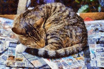 Painting - Cat Collecting Stamps by George Atsametakis