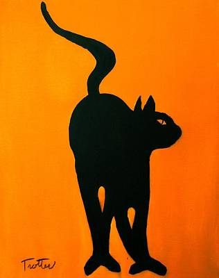 Painting - Cat Dance In Orange by Patrick Trotter