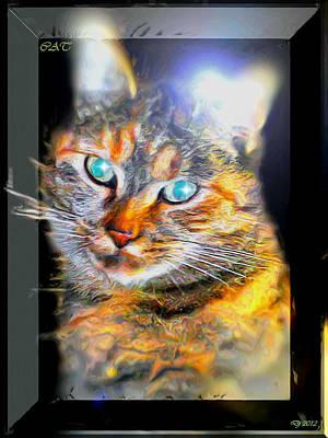 Art Print featuring the digital art Cat by Daniel Janda