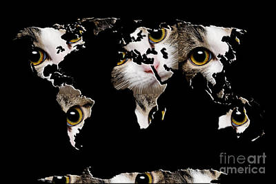 Andee Design Cats Photograph - Cat Eyes World Map 2 by Andee Design