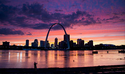 Cat Fishing Across From The Arch Art Print