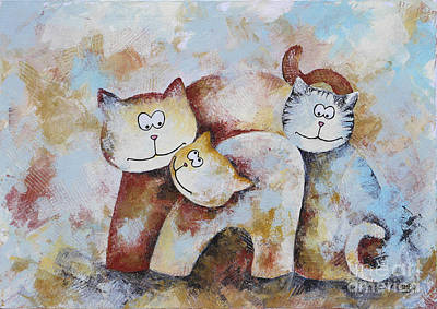 Painting - Cat Gang by Jutta Maria Pusl