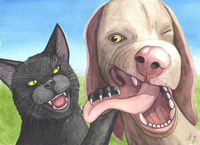Weimaraner Painting - Cat Got Your Tongue by Catherine G McElroy