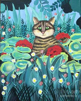 Cat Hiding In The Rainforest Art Print