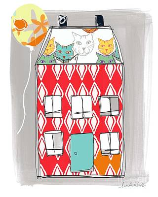 Balloons Painting - Cat House by Linda Woods