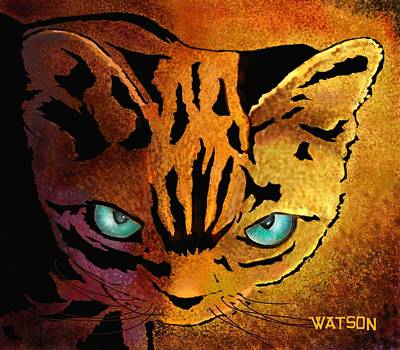 Digital Art - Cat. I'm Watching You by Marlene Watson