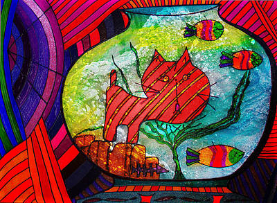 Painting - Cat In A Fish Bowl - Caught - Abstract by Marie Jamieson