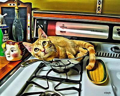 Photograph - Cat In A Pot On A Stove by Rebecca Korpita